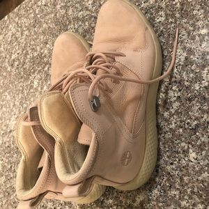 Blush Timberland Lace Up Ankle Boots